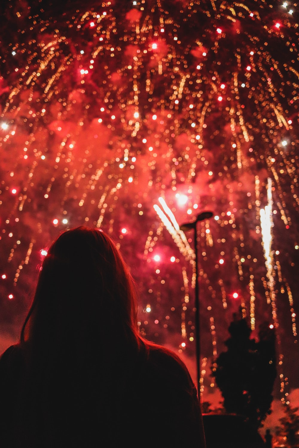 person looking at fireworks