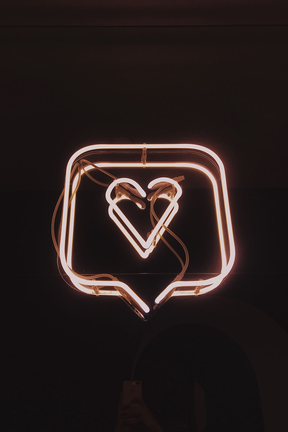 lighted square heart neon signage