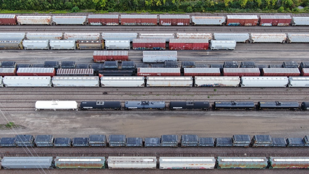 aerial view of container vans