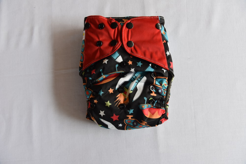 red and blue star print cloth diaper