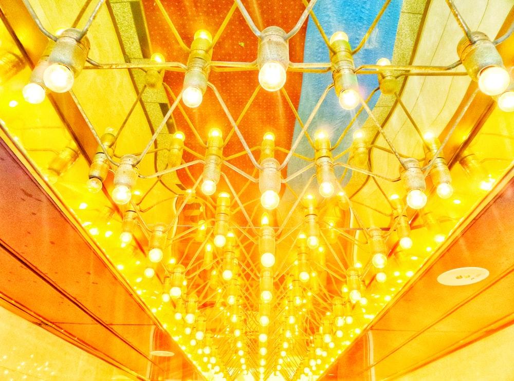 well-lit string lights