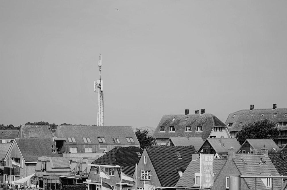 greyscale photo of houses