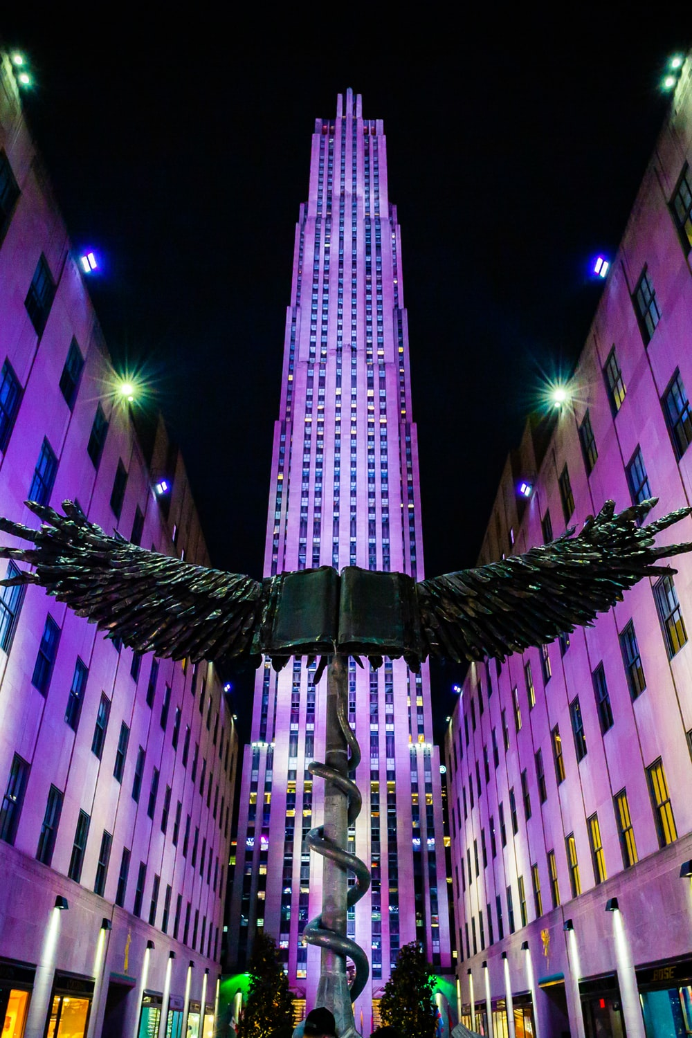 low angle photo of wing statue