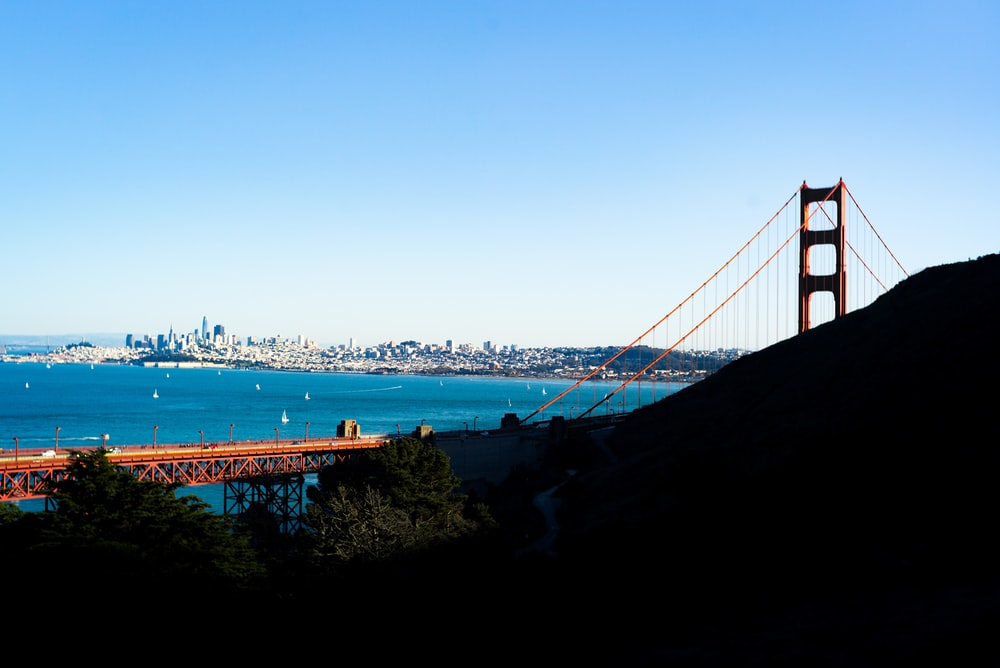red bridge over ocean