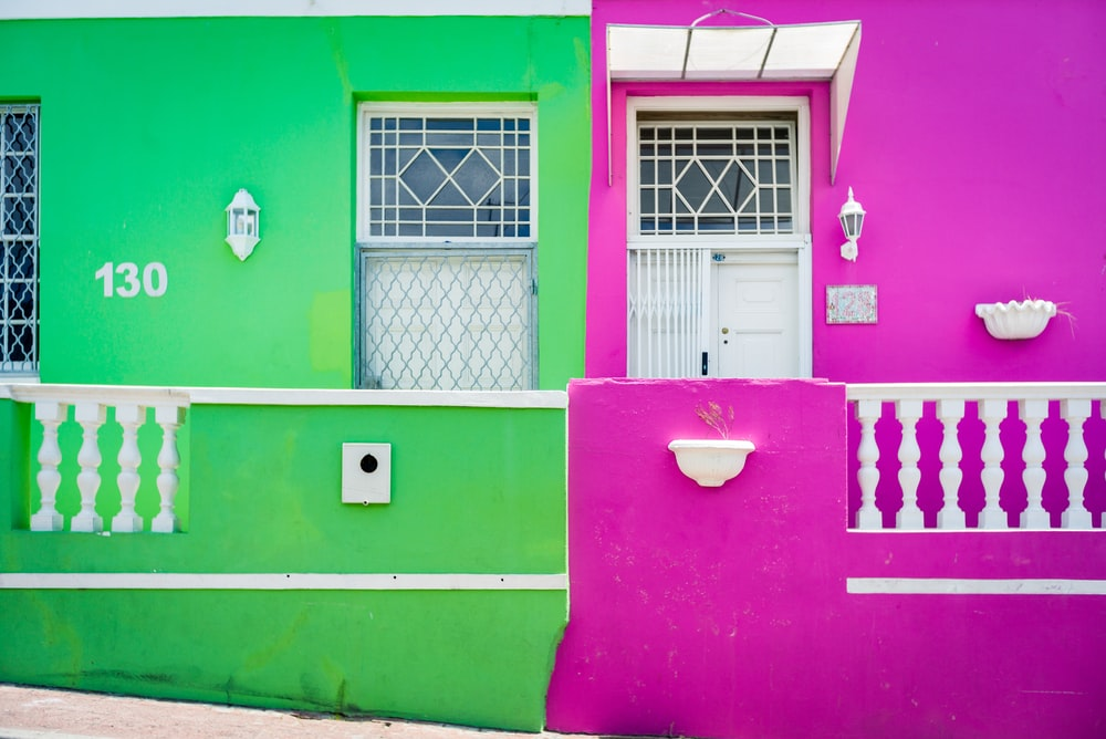 pink and green concrete structure