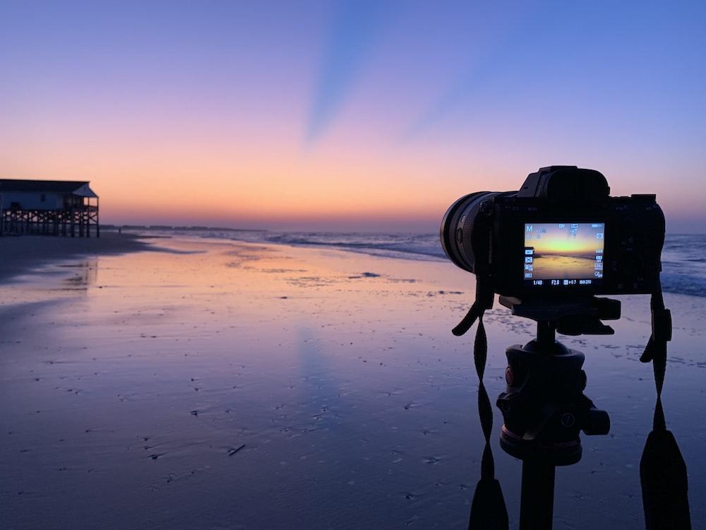 camera facing seashore