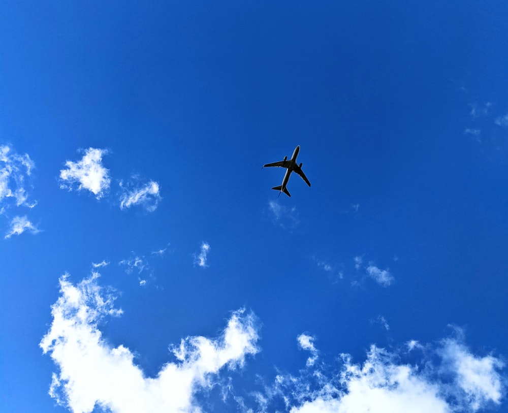 airplane on white and blue sky