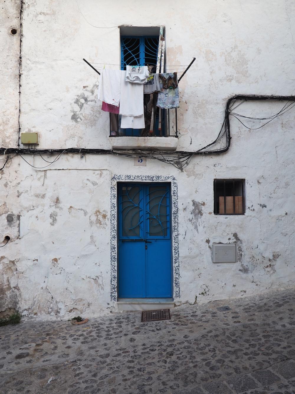 blue wooden door closed