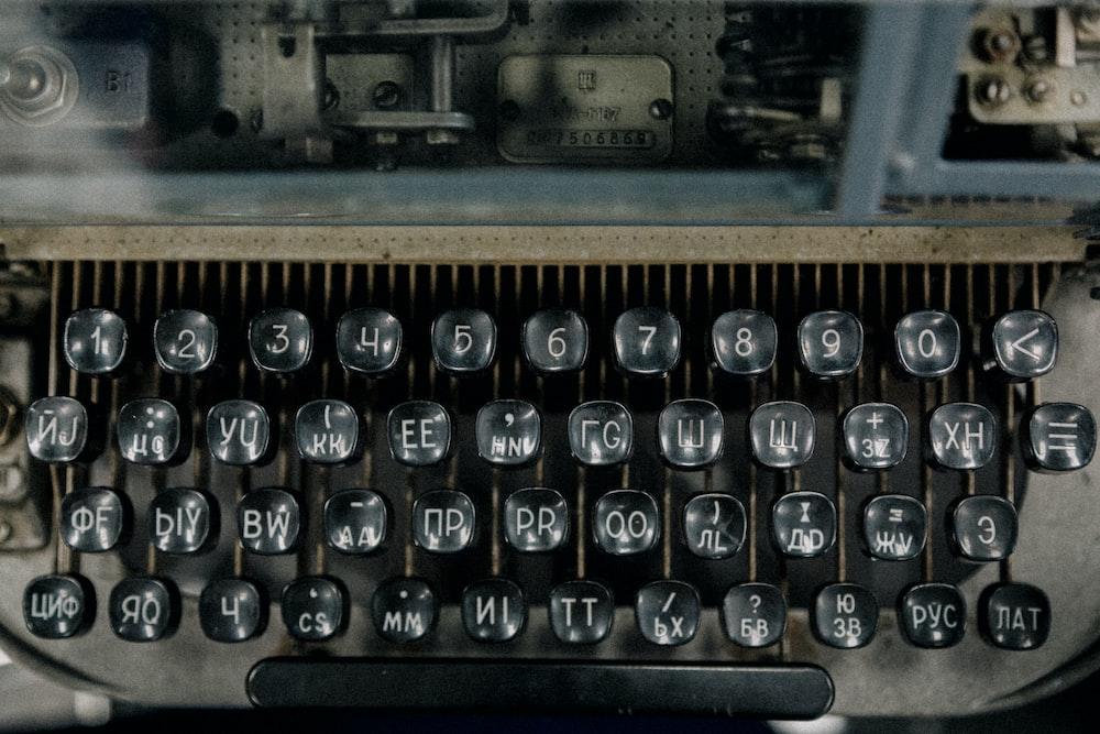 top view of typewriter
