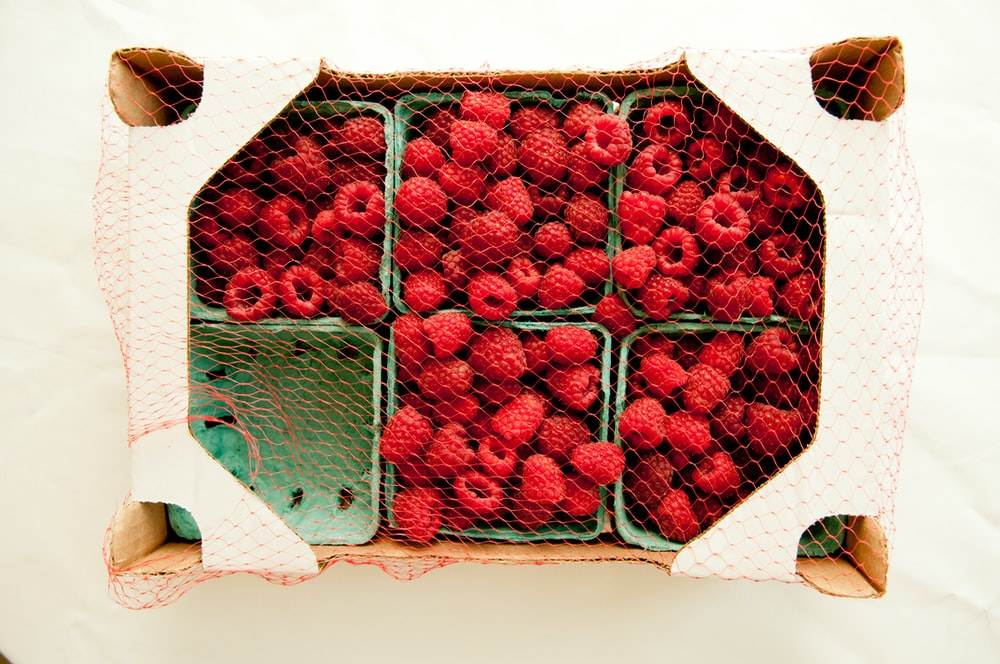 red berries with box