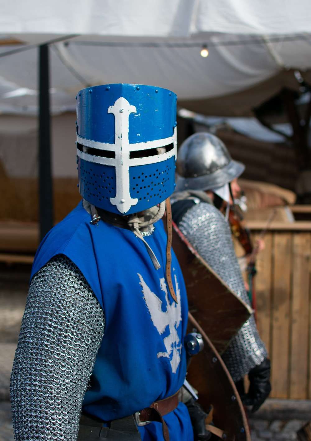 man wearing blue and grey costume