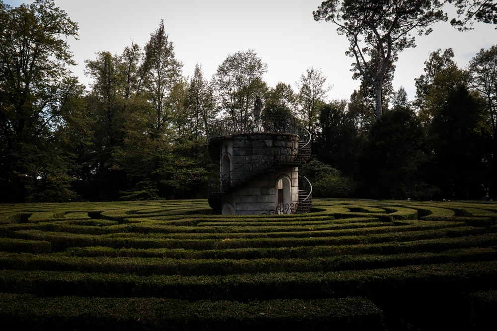 photo of garden maze and tower