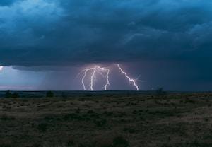 lightning in open field