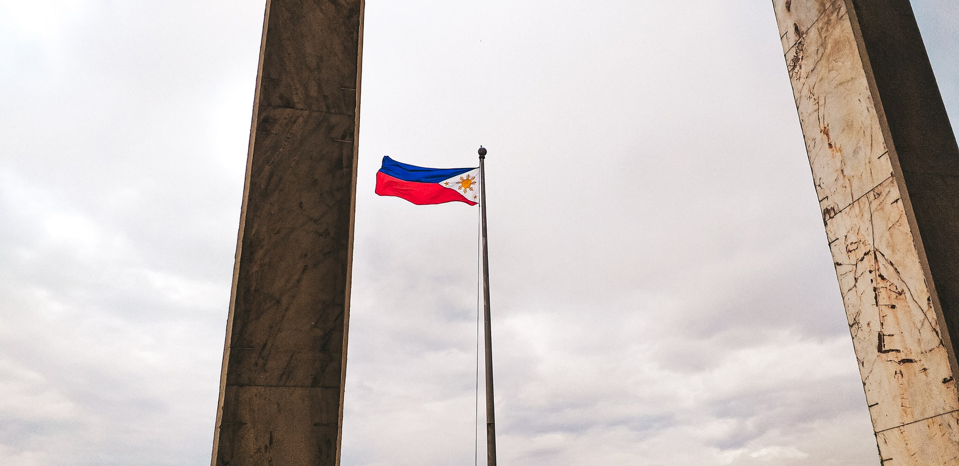 The Filipino flag is flown with the red stripe up in times of war and blue stripe up in times of peace.