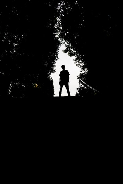 silhouette of man standing on top of stairs