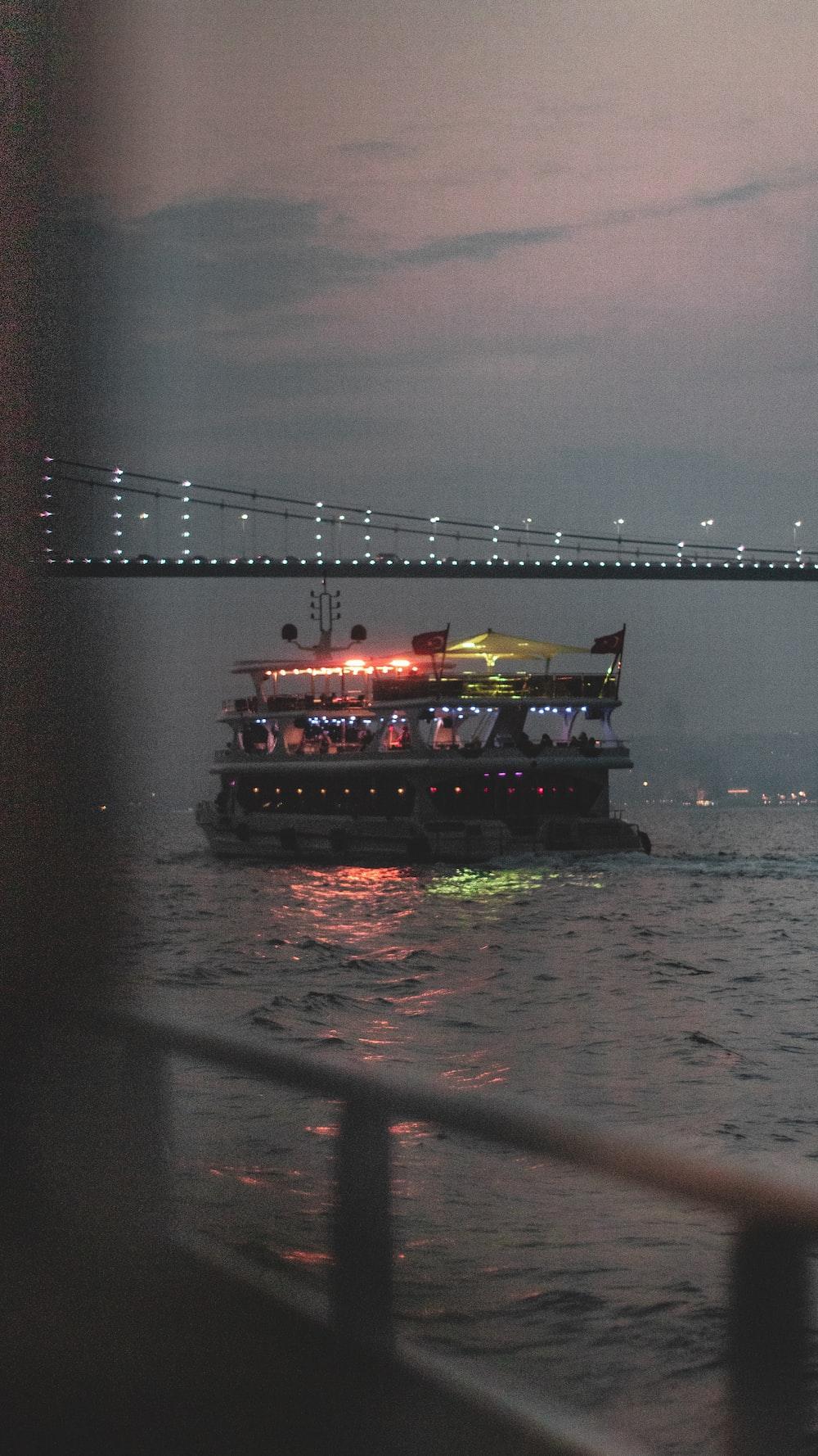 cruise ship under bridge