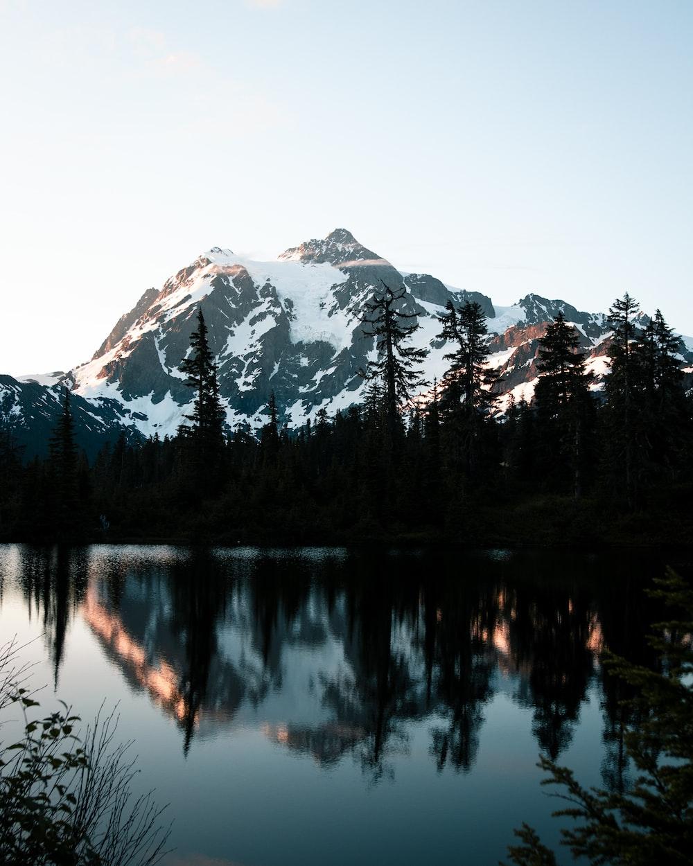 white and black rock mountain