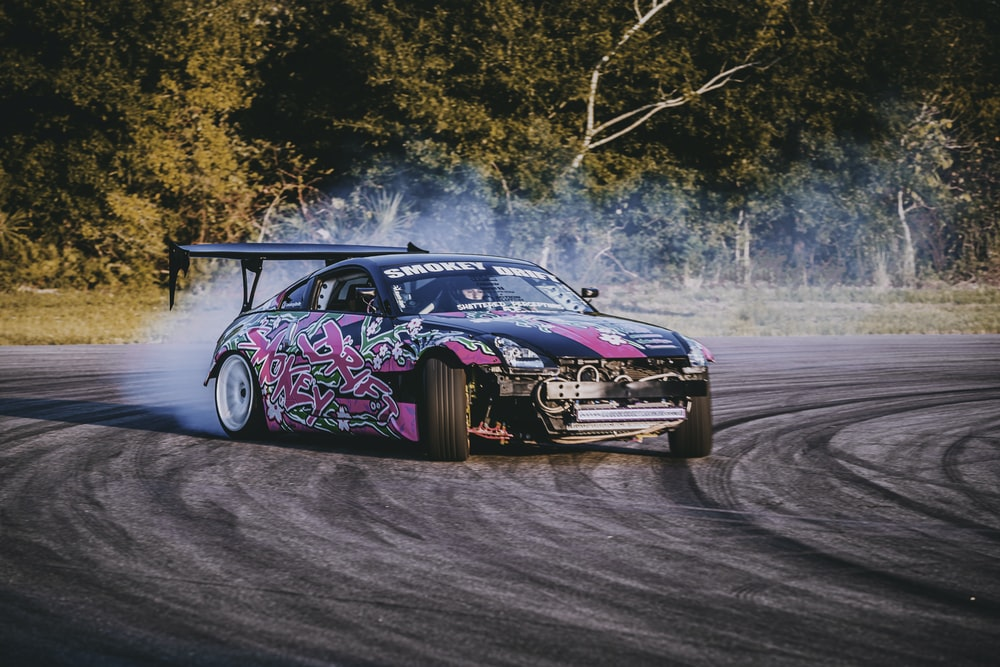 pink and black stock car
