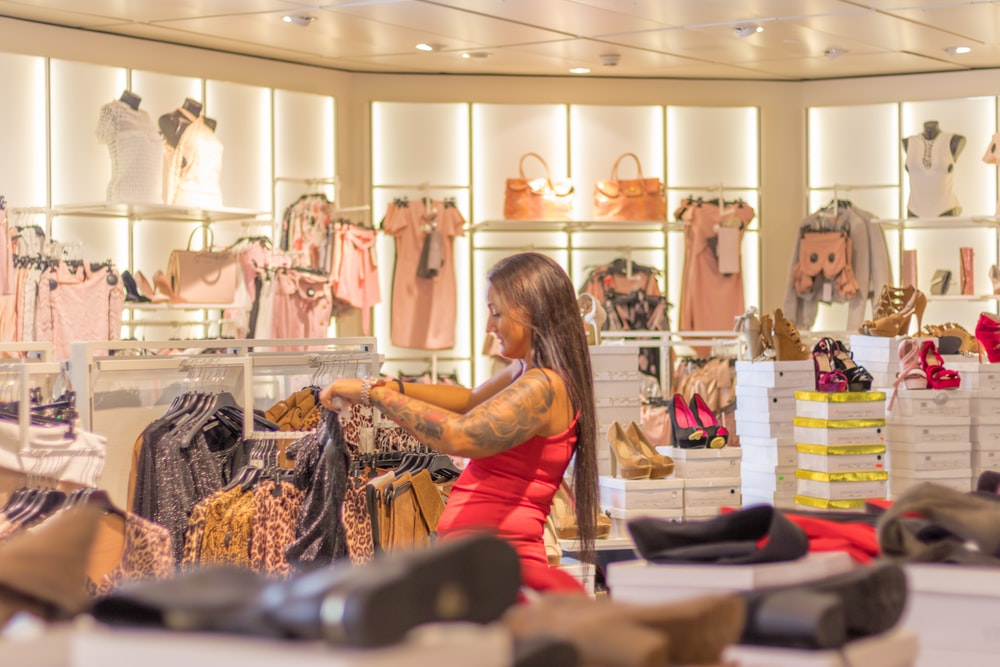 woman inside apparel shop