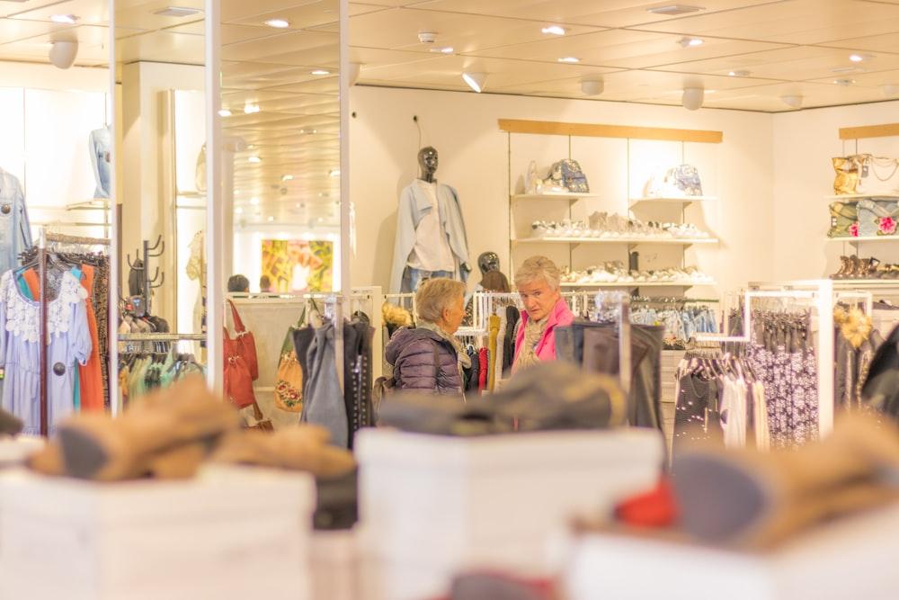 people inside apparel shop