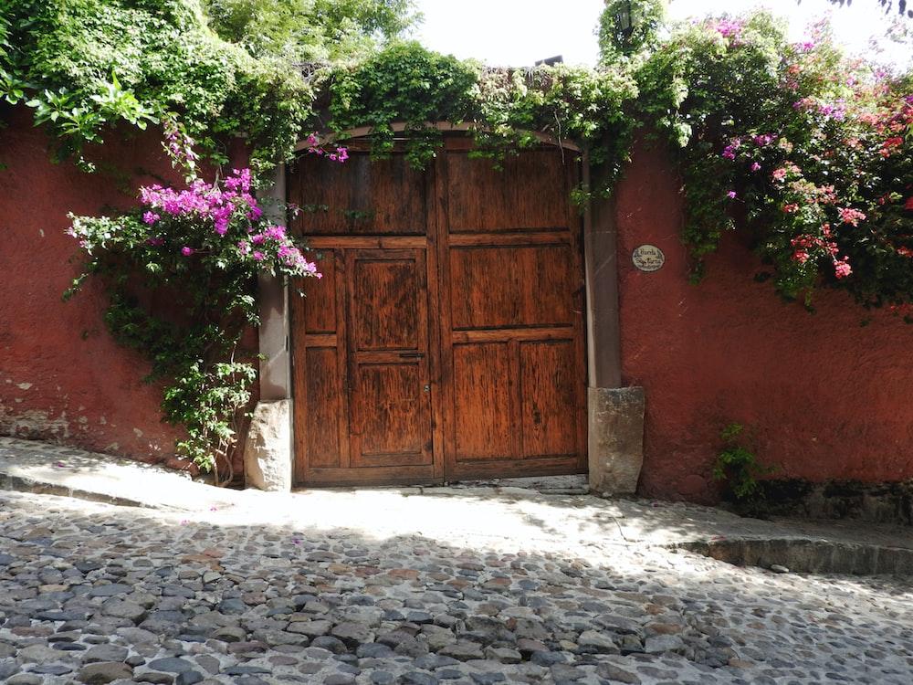 brown metal door gate