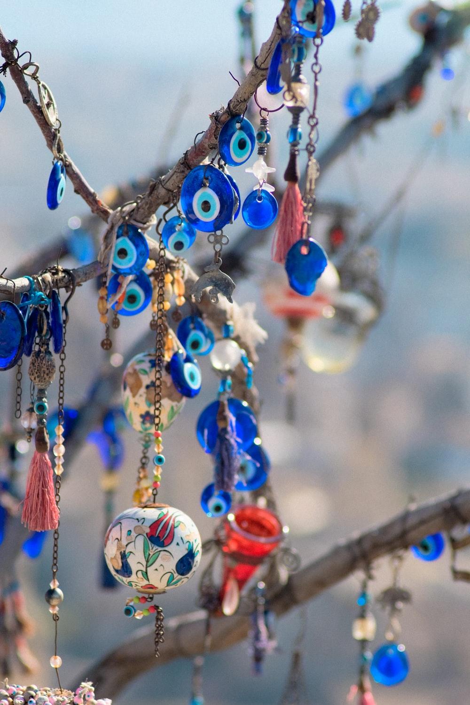 blue and white evil eye hanging decor