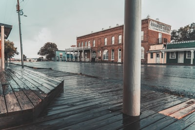 """I got caught up in a raging thunderstorm and took shelter under this overhang in the very desolate and empty ghost town of Shaniko, Oregon. This is one of the best-preserved """"Wild West"""" ghost towns in the United States, complete with the old boardwalks from cowboy times."""