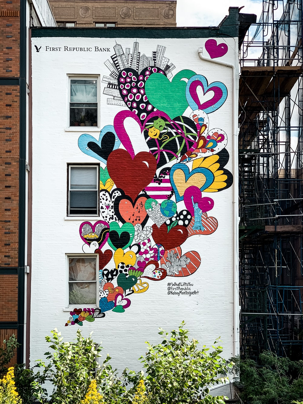 multicolored heart wall painting
