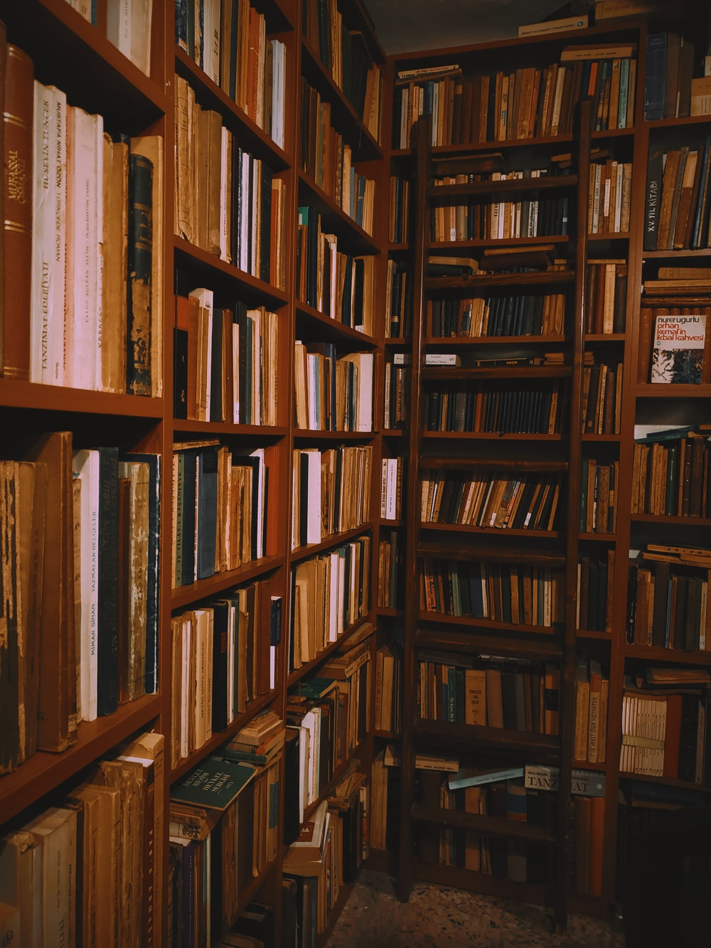 books stacked on wooden shelves in a library