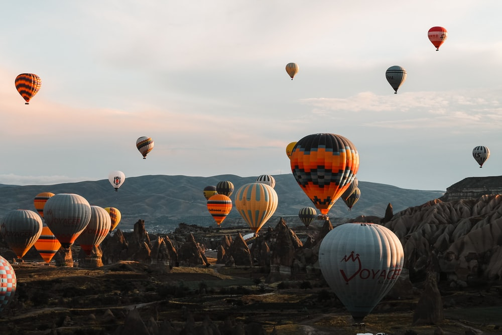 assorted-color hot air baloons