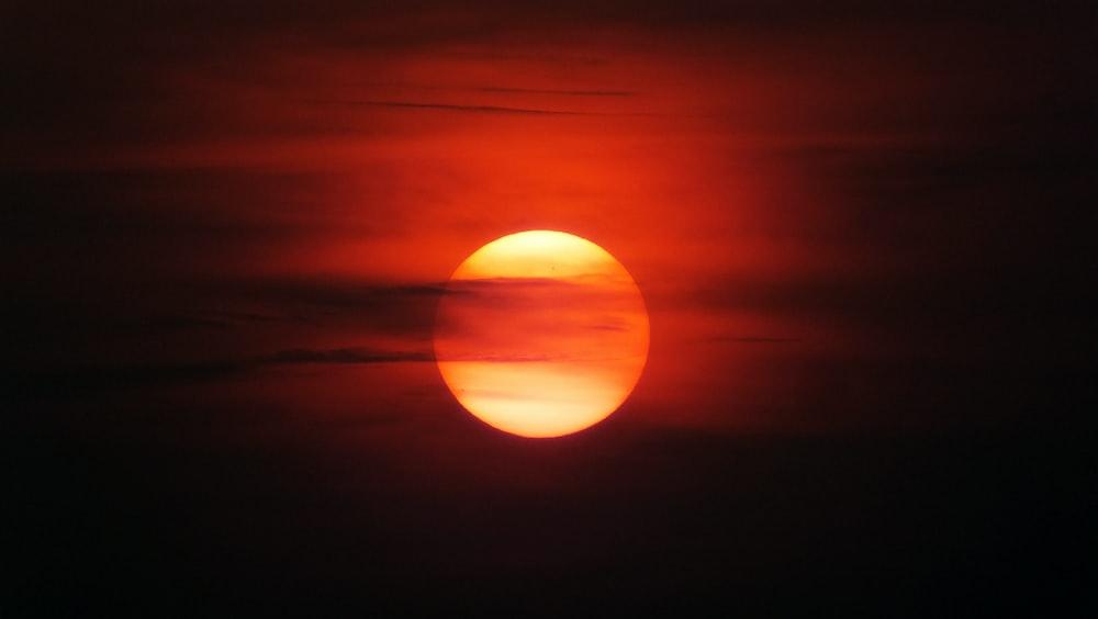 full moon during golden hour