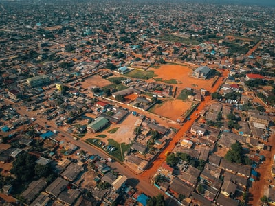 aerial-photography of city ghana teams background