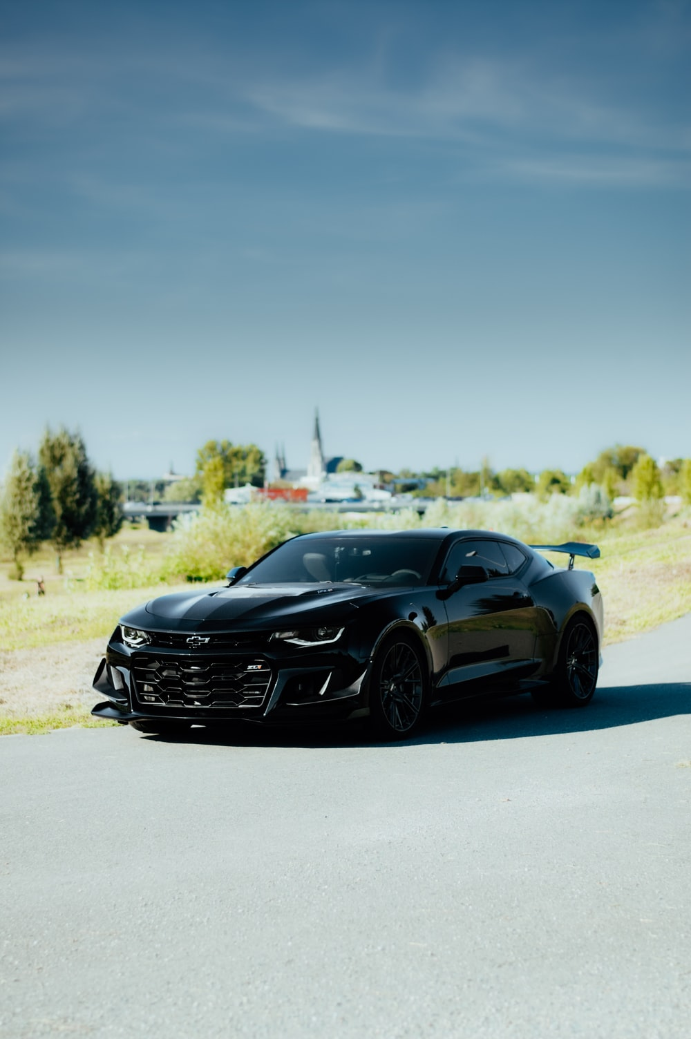 black Ford Mustang coupe on road