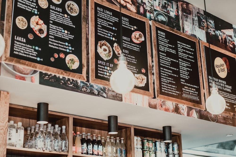 black and brown menu display