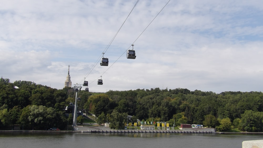 cable cart above body of water