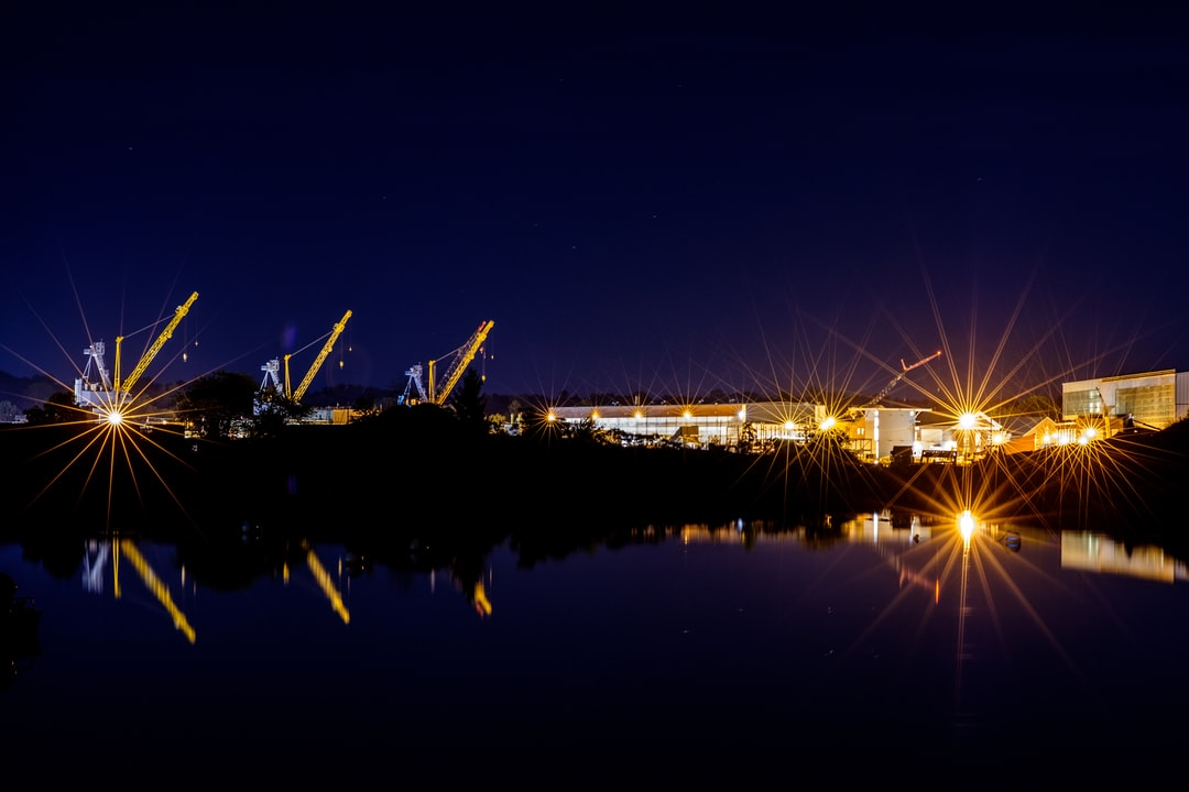 Portsmouth Naval Shipyard at night.