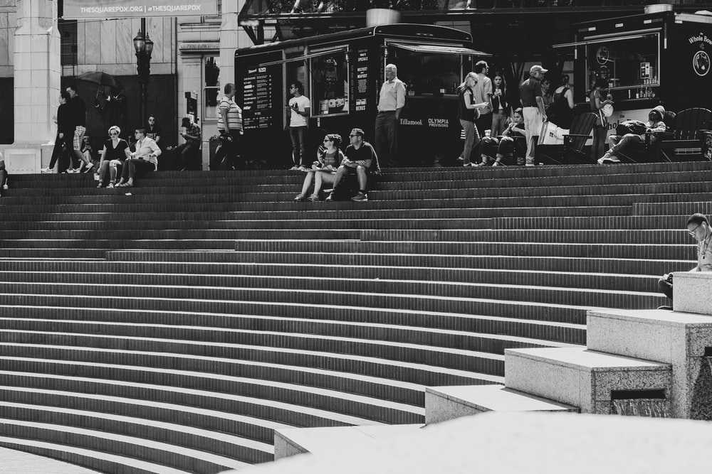 people on stairs