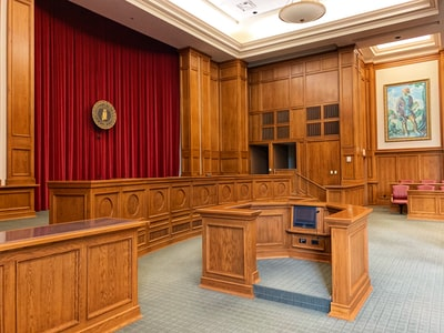 architectural photography of trial court interior view court teams background