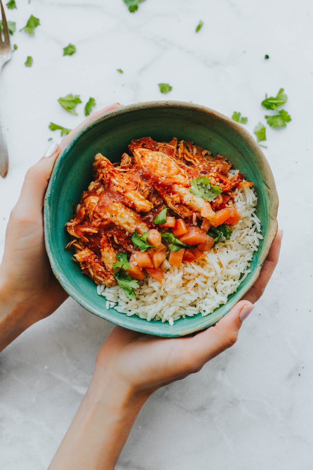 person holding rice bowl