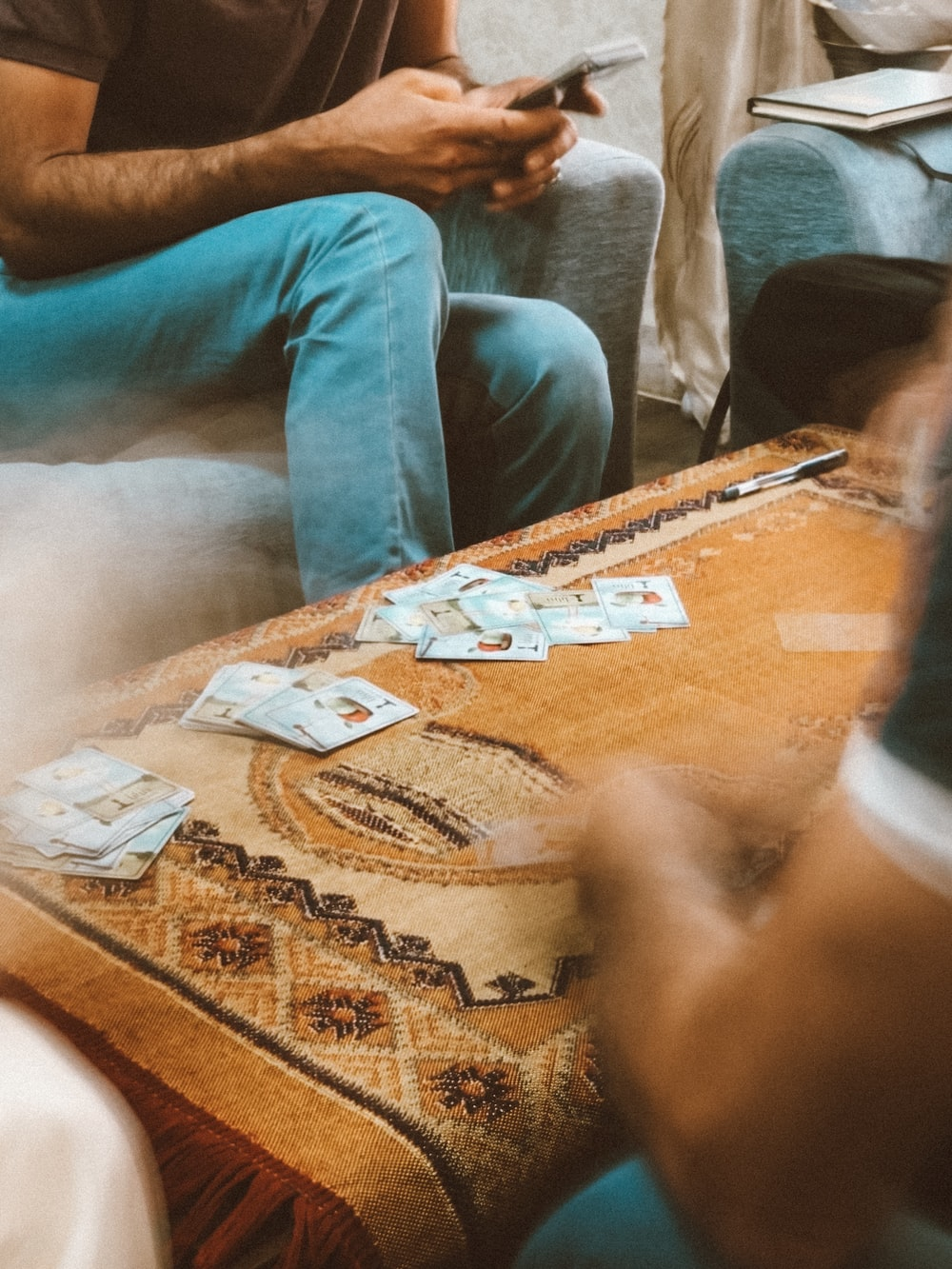 playing card on top of coffee table
