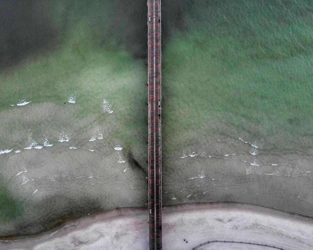 aerial photography of brown bridge