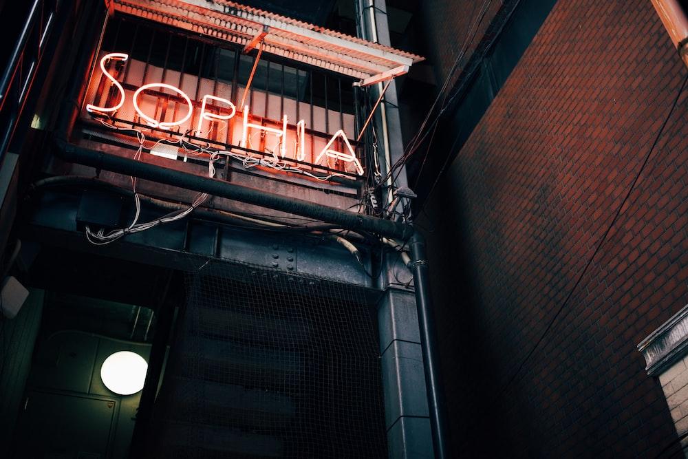 orange Sophia neonlight on wall