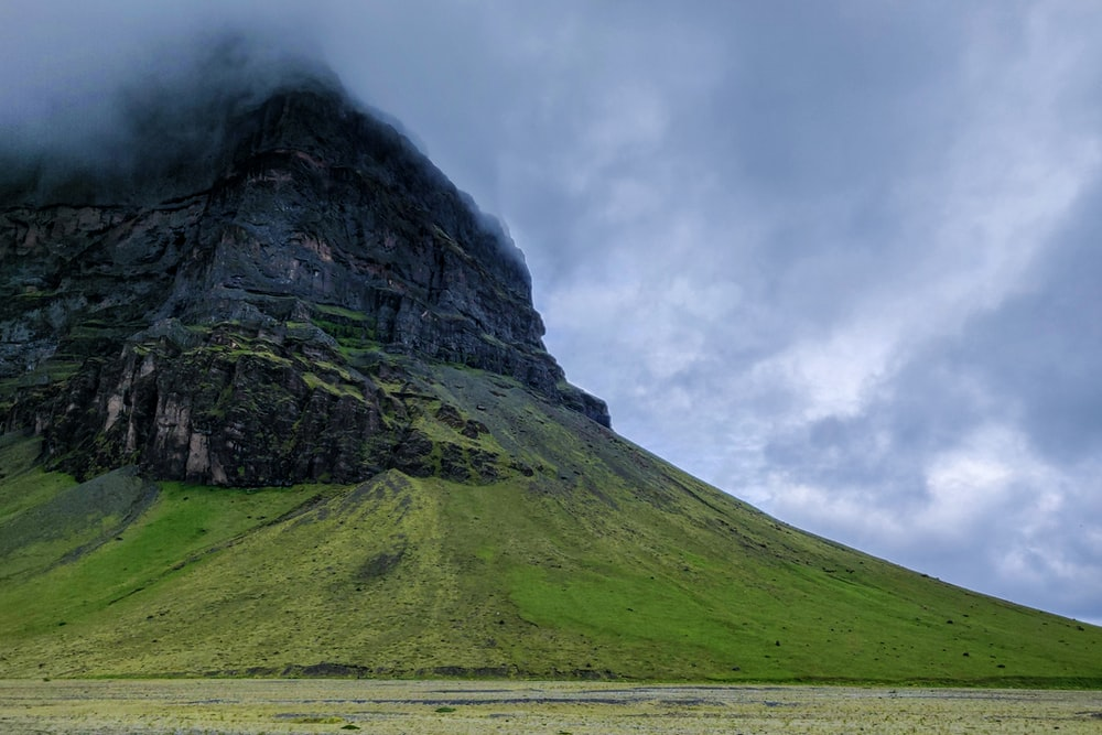 landscape photography of green and black mountain