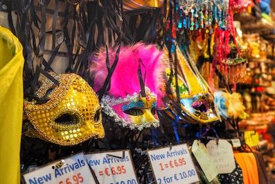 assorted color masquerade masks mardi gras zoom background
