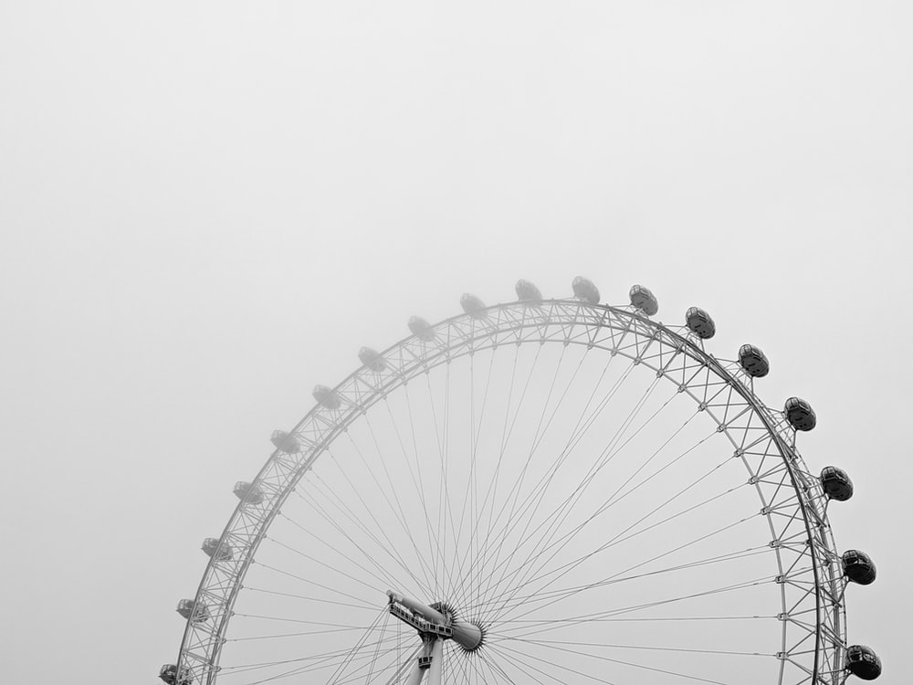 grayscale photography of London Eye