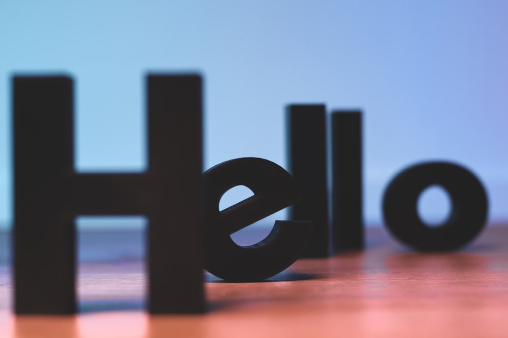 black Hello text decor