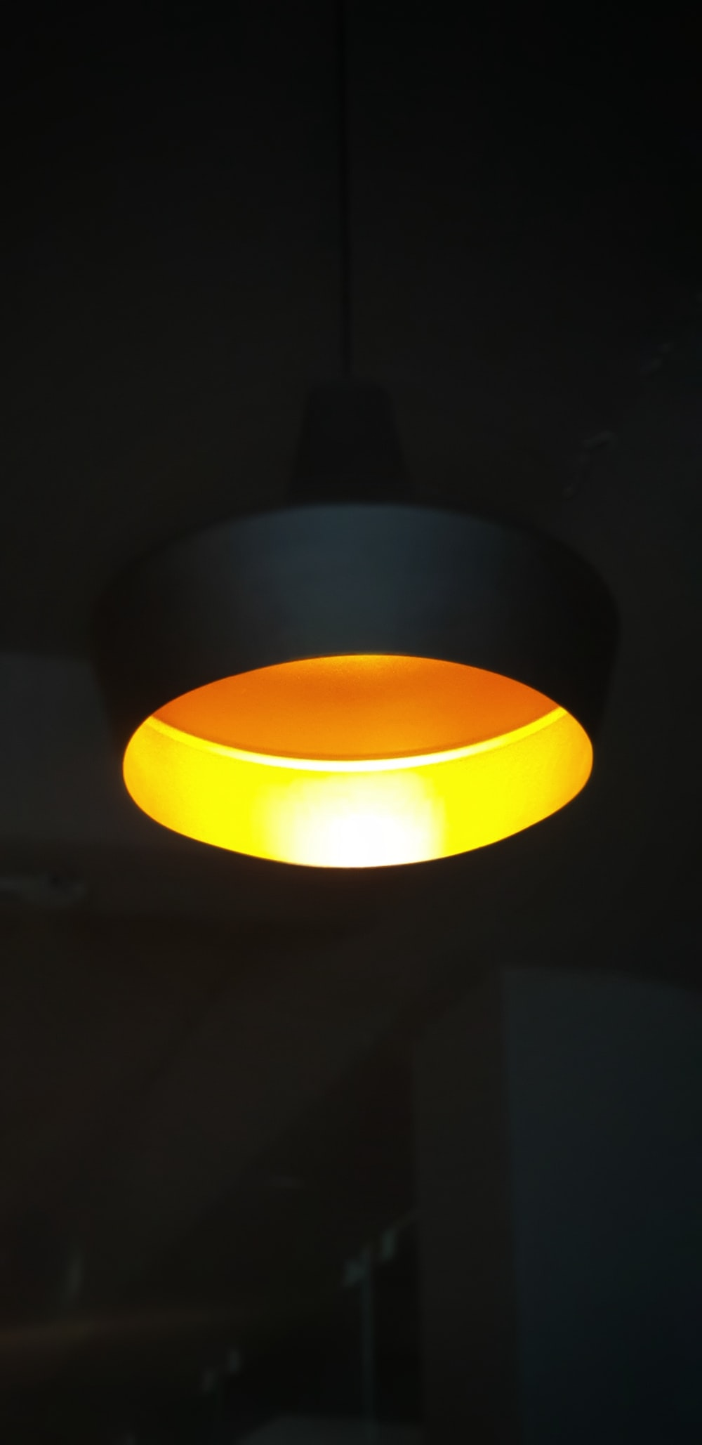 lighted round yellow ceiling lamp