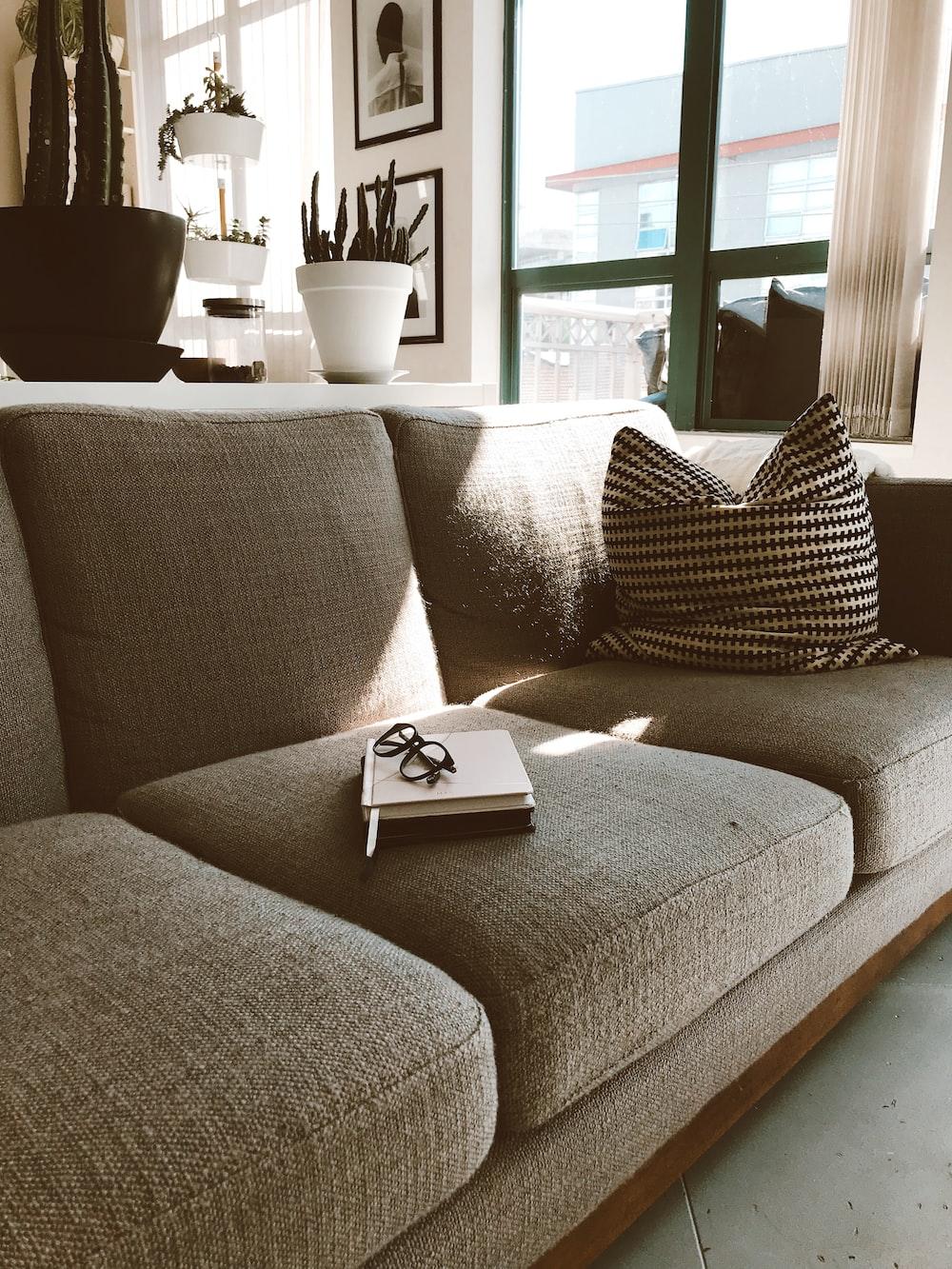 gray fabric sofa