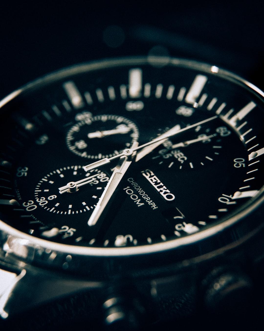 Seiko watch 100m chronograph. Time. Waterproof. Macro.