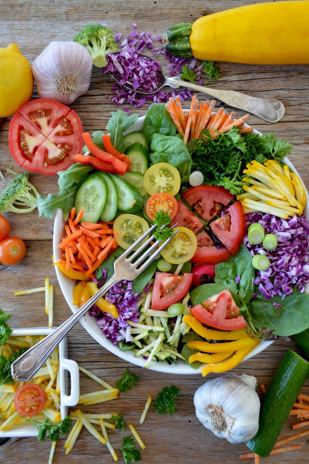 sliced vegetables on white ceramic plate